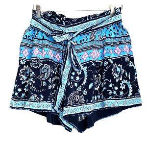 LOFT Floral Paisley Navy Blue Elastic Waist Shorts